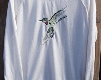 Embroidered Hummingbird Shirt, Red Throated Hummingbird Sweater, Bird Shirt, Bird Sweater, Gardening Shirt