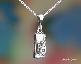 "Sterling Silver Camera Necklace with 16-24"" Chain or Pendant Only .925"