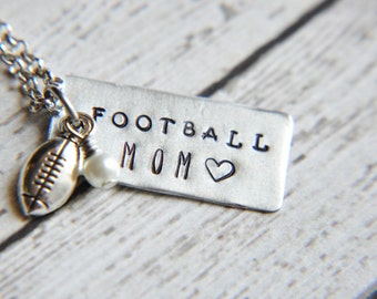 Football Mom Necklace - Football Jewelry - Team Mom Gift - Team Gifts - Football Gift - School Spirit - Hand Stamped - Gift for Mom