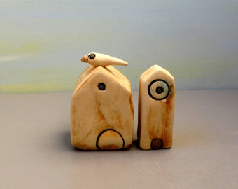 Set of two small ceramic houses , Ceramic home decoration , Little clay houses , Ceramics and pottery ,  Garden decor , Terrarium Decoration