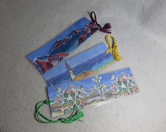 "Silk Art Bookmarks (set of 3) ""Panorama Landscapes"""