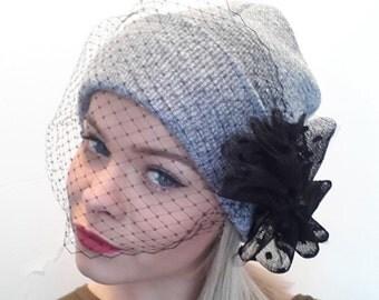 Beanie hat with veil grey beanie hat and birdcage veil fascinator veil and bow  Rihanna veiled beanie veil hat bow beanie cute beanie hat