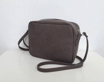 Gray leather crossbody bag,Gray leather bag,Small leather bag,Tapue brown leather bag