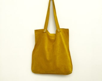 Yellow suede tote,Yellow leather bag,Yellow suede bag,Soft yellow shoulder bag,Yellow handbag
