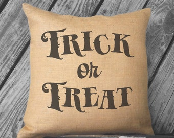 Trick or Treat Halloween pillow. Burlap Pillow. Halloween Decor. Decorative throw. Vintage Look Halloween Decorations
