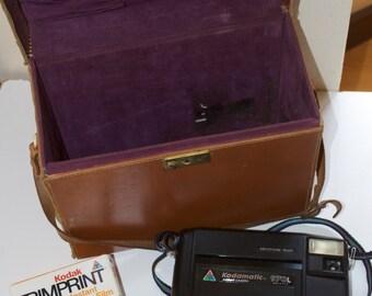 Kodamatic 970L Instamatic Polaroid Camera with Trimprint Instant Color Film & Leather Case