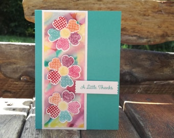 Patchwork Rainbow Flower A Little Thanks, Thank You, Handmade Card, Hand Stamped, Floral, Watercolour, Quirky, Blooms, Stampin' Up