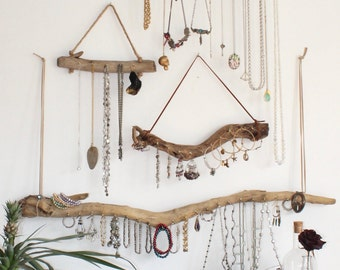 Driftwood Jewelry Display *Made to Order Gallery Wall Mounted Driftwood Jewelry Organizer Bohemian Hanging Storage Boho Decor Jewelry Holder