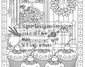 Christmas coloring page - Christmas Treats Holiday Coloring Book - Adult Coloring Page - Holiday Xmas Cupcakes
