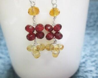 Designer earrings , Citrine and Garnet beads earrings with Sterling Silver findings ,Garnet earrings ,Beaded earrings Citrine beads earrings