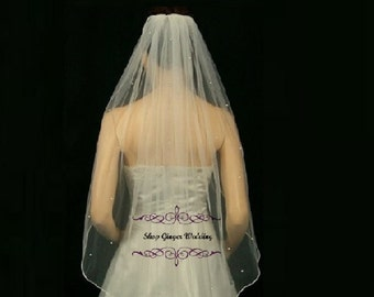 Fingertip 1 Tier Tailor Custom Handmade Swarovski Crystal Rhinestones Wedding Bridal Satin Edge Veil