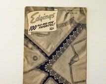 CROCHET EDGING PATTERNS, J & P Coats book of crochet edgings, vintage crochet patterns,book of 100 edgings,vintage pattern book,gift for her