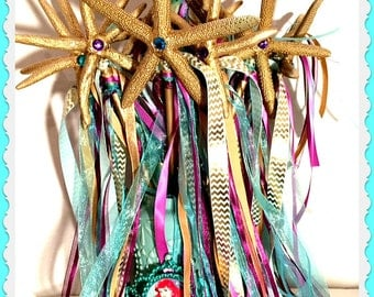 Mermaid Wands, Starfish Wands, Fairy Princess Wands, Fairy Godmother Wands, Under the Sea Party, Mermaid Party Favor