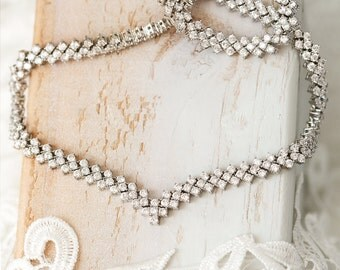 Crystal Necklace, Statement Necklace, Sterling Silver Necklace, Bridal Necklace, Cubic Zirconia, Bridal Jewelry, Wedding Jewelry N232WL