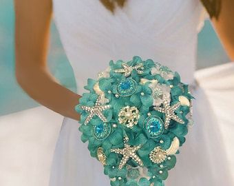 Brooch Bouquet, Beach Bouquet, Destination Wedding Bouquet, Full Price 250.00 & up, Rush Orders Welcome! Reserve with Deposit