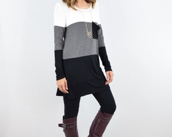 Color Blocked Slouch Pocket Tunic  S to XL