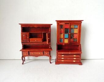 Dollhouse Furniture Miniature Wooden Cabinet Book Shelf Buffet Hutch