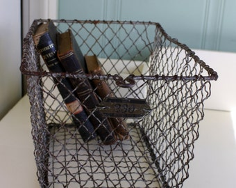 Vintage Locker Basket with Tag Rusty