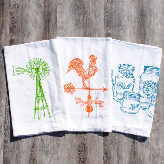 Rustic Tea Towels Set Of 3 Farm Kitchen Farmhouse Decor