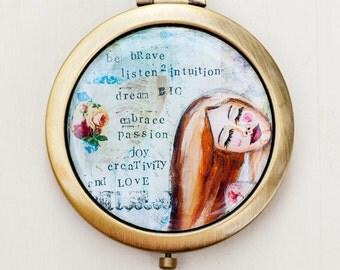 Be Brave Compact Mirror Favor - Affirmation Purse Mirror - Inspirational Art -  Pocket Mirror - Mixed Media Art - Self Esteem Quote Art