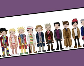 The 13 Doctors - Unofficial Doctor Who cross stitch pattern - PDF pattern - INSTANT DOWNLOAD