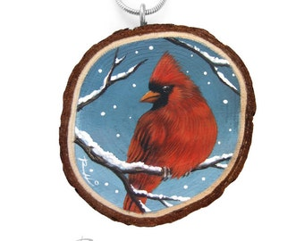 Hand Painted Art Necklace with an Incredibly Detailed Northern Red Cardinal! Fine Art Jewelry 100% Handmade by the Artist Roberto Rizzo