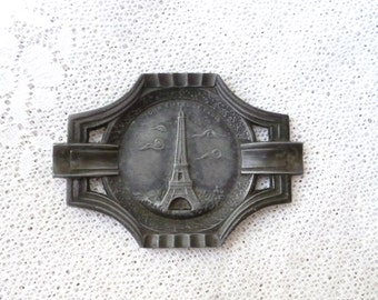Antique French Eiffel Tower Paris Pewter Ashtray