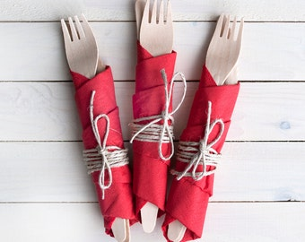Wooden cutlery sets with napkins and natural twine - 8pcs