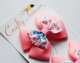 Pink and Blue Stars Everyday Hair Bow for Toddlers/girls