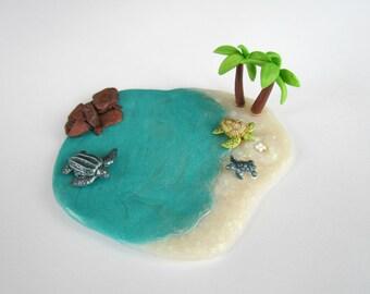 Sea Turtles, Miniature Animal Play Set, Clay Turtles