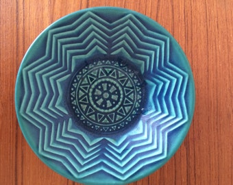 Vintage DISH PURBECK Pottery by Robert Jefferson Mid Century Blue Green Bowl British
