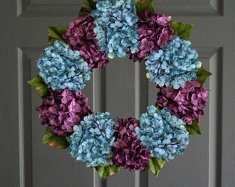 Blue & Purple Hydrangea Wreath | Summer Wreaths | Front Door Wreaths | Door Wreaths | Fall Wreath | Winter Wreath | Holiday Decor