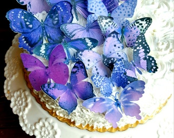 Edible Butterfly Purple Mist Cake/ Cupcake Toppers,  Cake Picks Set of 15