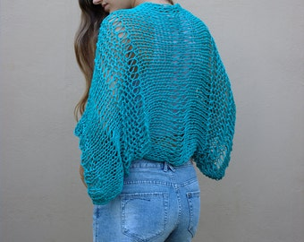 Turquoise hand knit shrug, handmade cropped cardigan, open knit cotton bolero, loose weave shrug, loose fitting boho style shrug