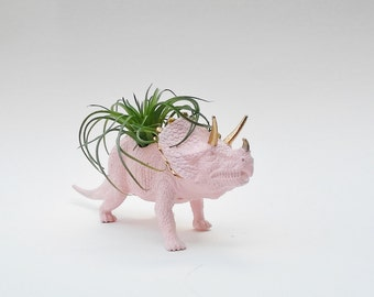 Dinosaur Planter + Air Plant // Pink Animal Planter