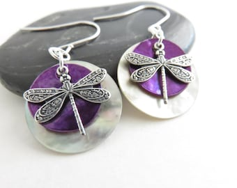 Dragonfly Earrings - Dragonfly Jewelry, Plum Purple Shell Earrings, Beach Jewelry, Mussel Shell Earrings, Sterling Silver Earrings, Bohemian