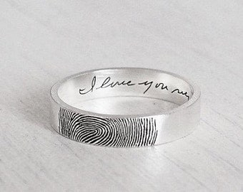 Your Actual Finger Print Rings, WEDDING RING Personalize Wedding Rings SetCouple's Ring Set Sterling Silver