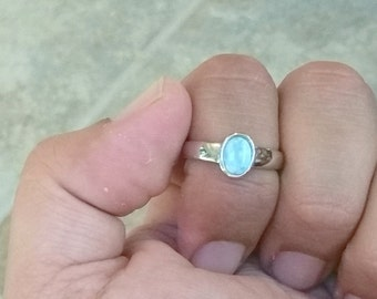 Oval Larimar ring -925 Sterling Silver -  Dominican Larimar - Calming Stone - healing stone