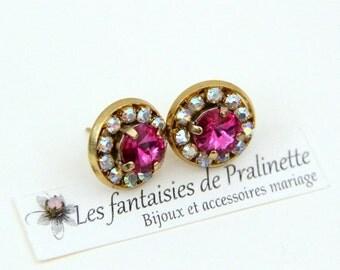 4591a963cec2e Boucles d oreilles clous puces Colette cristal rose fuchsia, bijoux mariage  soirée témoins mariée