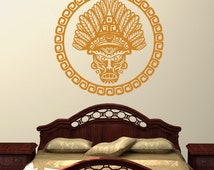 Wall Decal, Mask, American Culture Decal, Bedroom Wall Decal, Spiritual Art, Tribal Mask, Ceremonial Mask Decal
