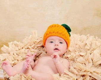 Crochet Fall Pumpkin Baby Hat