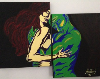 """Acrylic painting on canvas. Couple. """"The Hug"""""""