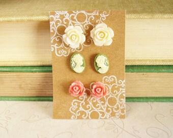 3 Pairs of Stud Earrings, Cream Rose Earrings, Moss Cameo Earrings, Blush Rose Earrings,  Resin Flower Jewelry