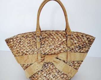 Summer Cork and Wicker Woman HandBag - FREE SHIPPING WORLDWIDE  Vegan Eco-Friendly Mothers Day Gift Idea