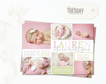 Birth Announcement Card Pink - Birth Announcement Card Girl - New Baby Announcement Card - Baby Picture Announcement - Pink and Green