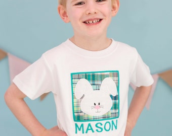 Boy's Easter Shirt Bunny Box with Embroidered Name - M25