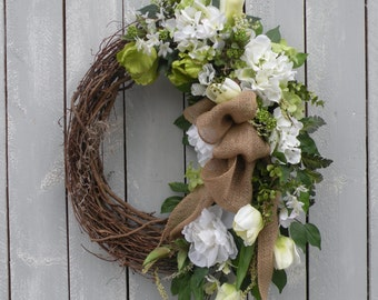 Spring Wreath, Summer Wreath, Designer Wreath, Home Decor, Front Door Wreath