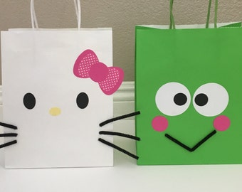 Hello Kitty or Keroppi Favor bags, Hello Kitty Birthday, Hello Kitty favor bags, keroppi favor bags, sanrio birthday, keroppi birthday