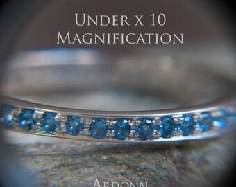 14K White Gold Eternity Ring London Blue Topaz  - Something blue - Sky blue - Pave style ring - Elegant Eternity ring -