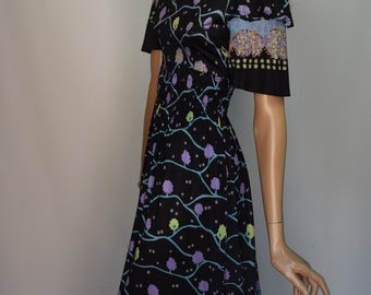 Gerald McCann Chromatic on Black Tree Print Scoop Back Empire Maxi Dress